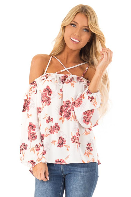 0312c9dbe08 Ivory Floral Strappy Off the Shoulder Ruffle Top - Lime Lush Boutique