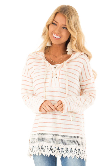 cd96c46565 Peach and Ivory Striped Hooded Top with Lace Details