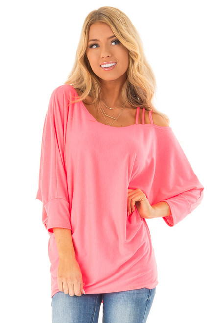 77f261442313a Neon Pink Long Dolman Sleeve Top with One Cold Shoulder