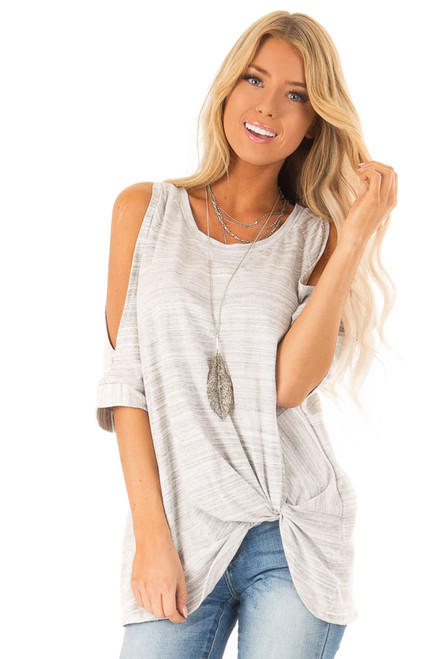 3807698a23ffa7 Heather Grey Two Tone Cold Shoulder Top with Twisted Hemline