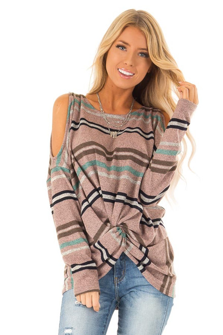 f190a140822e80 Mauve Striped Cold Shoulder Sweater with Front Twist Detail