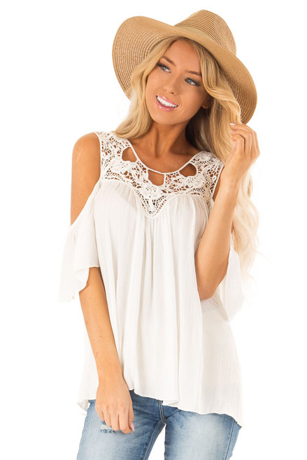 337f3019b0e72 Ivory Cold Shoulder Flowy Top with Crochet Neckline