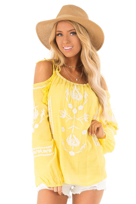 6cdbd9954bb6ca Sunshine Yellow Cold Shoulder Top with Embroidery Detail