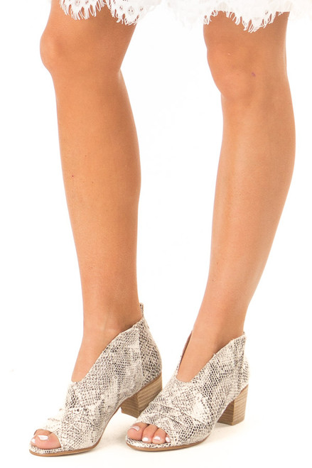 20892303a619 Ivory and Black Snake Print Open Toe Heeled Bootie