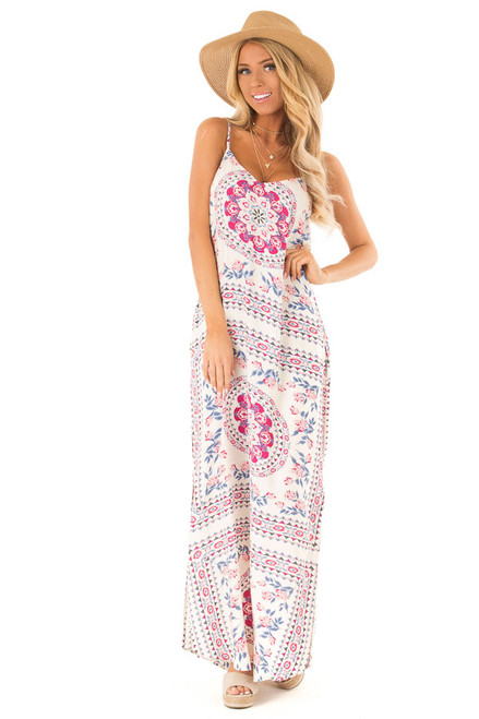 Ivory Multi Print Sleeveless Maxi Dress with Side Pockets 6b8c292e073d