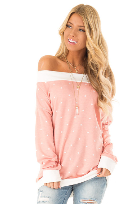 2bcce7766e Peachy Pink Polka Dot Off the Shoulder Long Sleeve Top