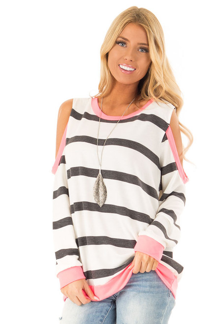 a847dff294612 Ivory Charcoal and Neon Pink Striped Cold Shoulder Top