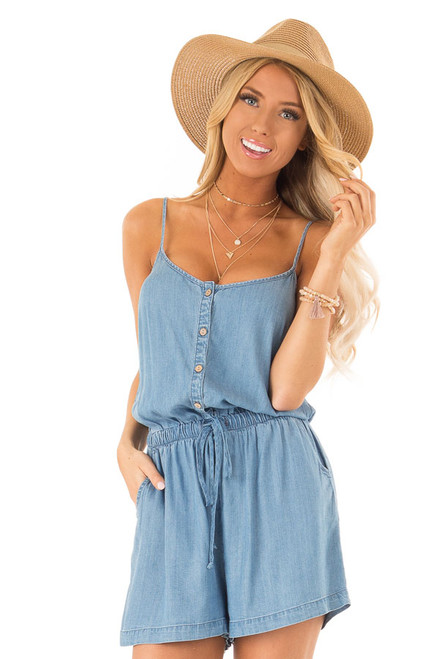 3f9cd9883a0 Denim Blue Chambray Button Up Sleeveless Romper with Pockets