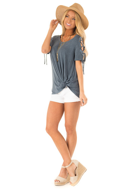 ... Slate Blue Soft Mineral Wash Tee with Lace Up Cold Shoulders front full  body ... a8476a154