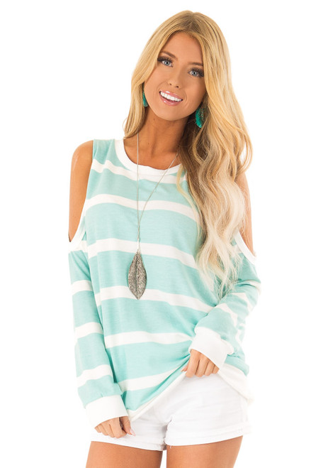 b1d859f6c09951 Mint and Ivory Striped Cold Shoulder Top