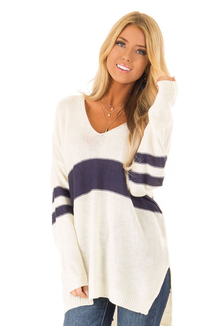 db367d9c46d6a Off White and Navy Varsity Striped V Neck Sweater