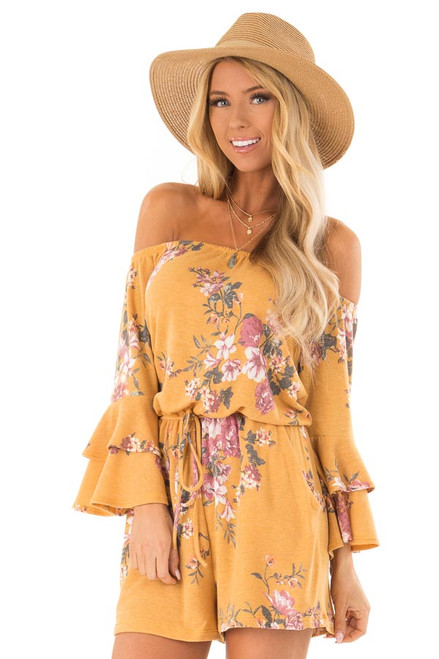827fae4884e0 Mustard and Floral Print Off Shoulder Romper with Pockets