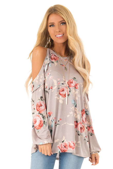 e56023a75937b Soft Mocha Floral Print Cold Shoulder Top with Ruffle Detail
