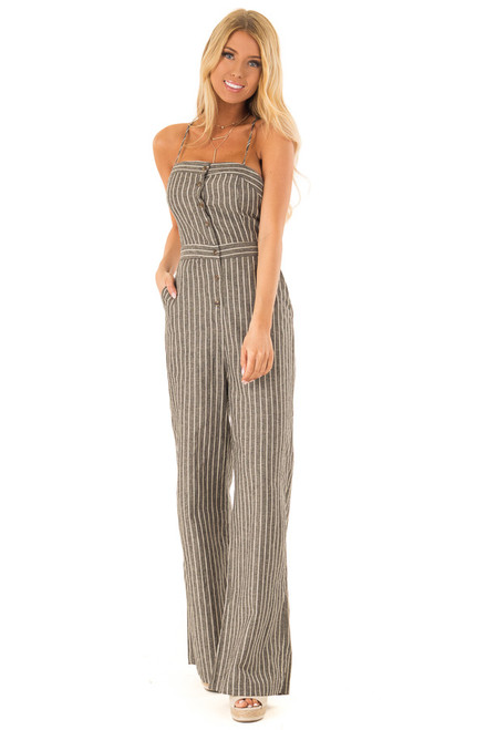 cb555485310 Charcoal Striped Button Up Sleeveless Wide Leg Jumpsuit