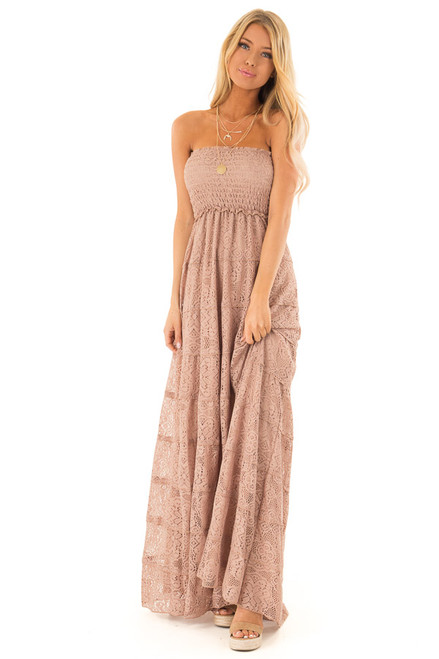 a523259deec ... Mocha Tiered Lace Strapless Smocked Maxi Dress front full body ...