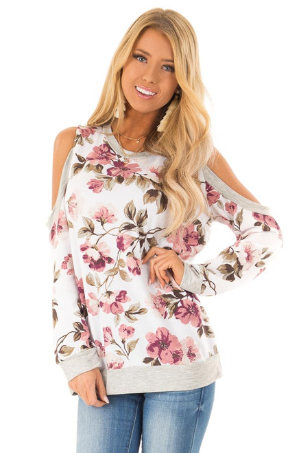 040803d9556ed Ivory and Heather Grey Floral Print Top with Cold Shoulders