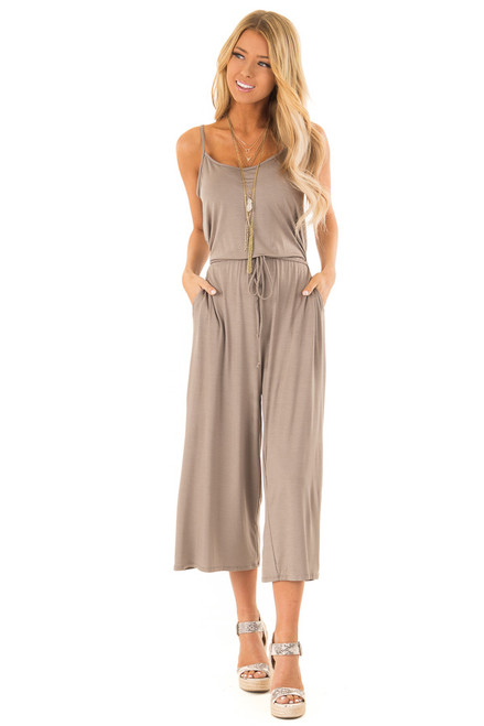 ec343f791c6 Taupe Spaghetti Strap Jumpsuit with Waist Tie and Pockets