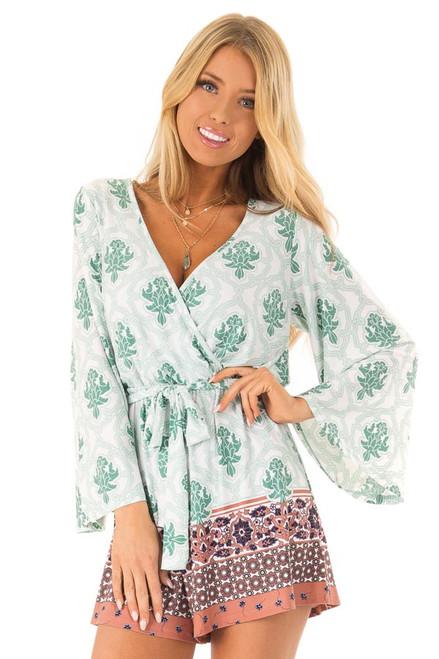 83c77e3d49f Sage and Clay Damask Print Surplice Romper with Waist Tie