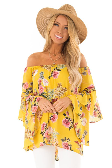 64ef087994da2 Mustard Floral Print Off Shoulder Top with Ruffle Sleeves