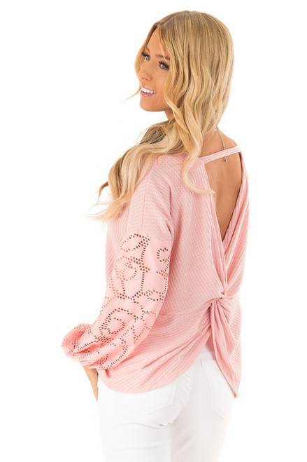 a0c5ec87b3e3dd Carnation Pink Open Back Top with Contrast Balloon Sleeves