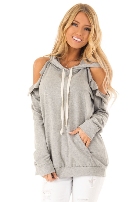 8f5c42762aa16 Heather Grey Cold Shoulder Hoodie with Ruffle Details