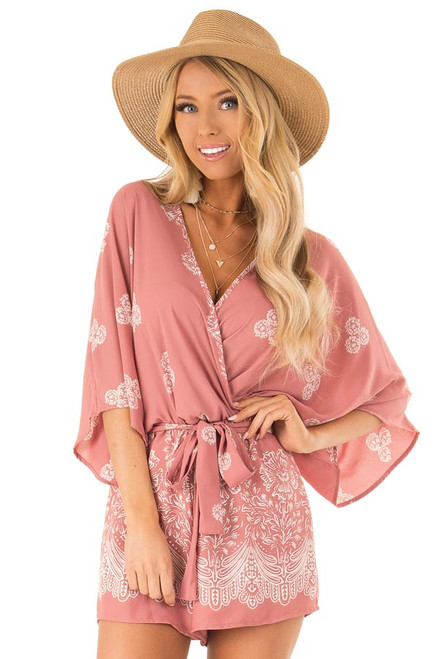 05f89803a37 Dark Blush Surplice Romper with Floral Print and Front Tie