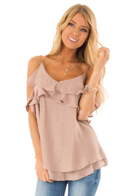 8860462621 Latte Cold Shoulder Top with Ruffle Details