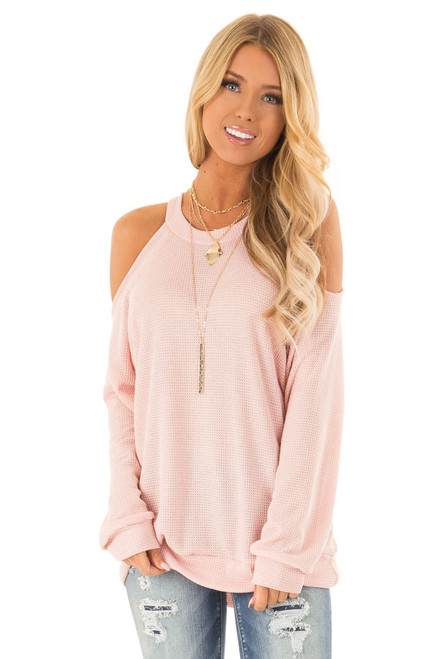 Blush Waffle Knit Cold Shoulder Long Sleeve Top e3874c9d2