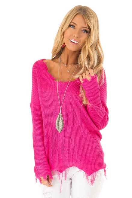 39f0084b33 Fuchsia V Neck Long Sleeve Sweater with Frayed Details