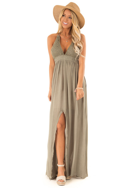 Olive Backless Halter Top Maxi Dress with Lace Details 97156fe2e