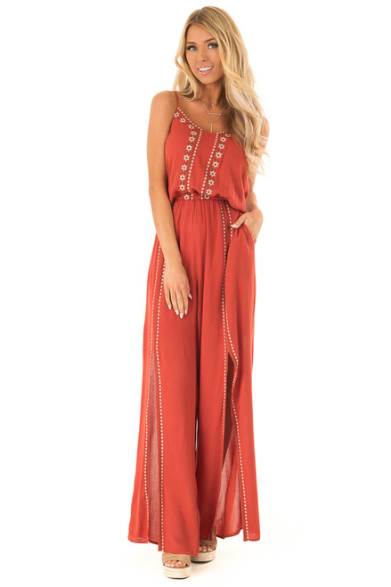 c740f840917 Rust Spaghetti Strap Jumpsuit with Floral Embroidery