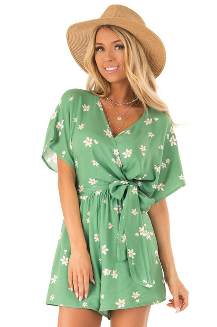 253b07b1986 Jungle Green Floral Romper with Wrapped Top and Side Tie