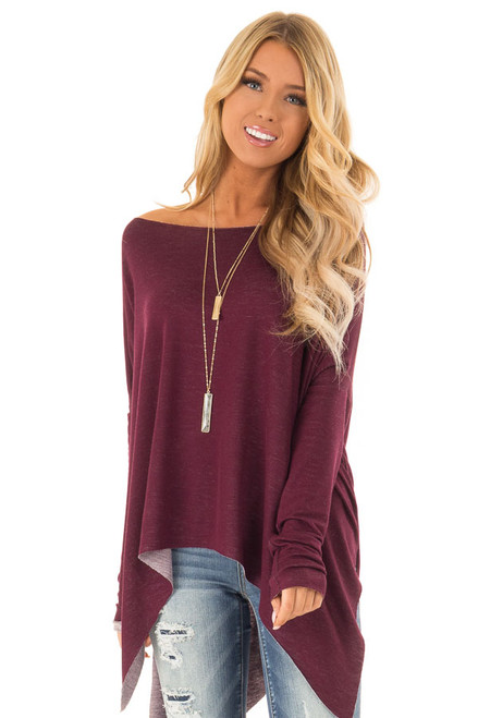 Burgundy Off the Shoulder Oversized Long Sleeve Top fa13b6a83