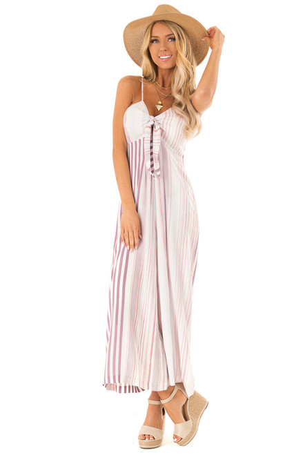 9251f86fbd0 Lilac Multicolor Striped Cami Jumpsuit with Front Tie
