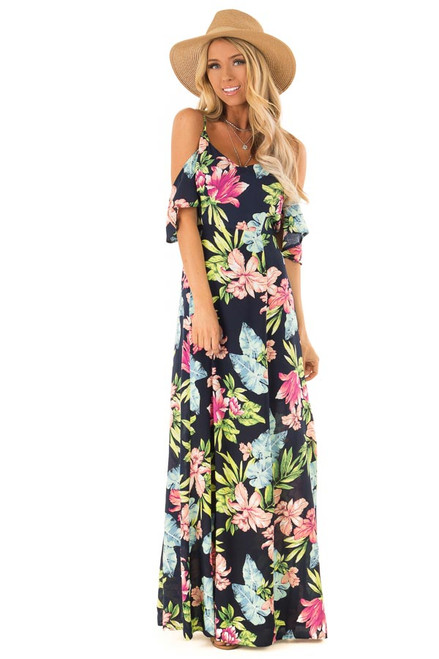 c90eb44af5 Navy Floral Print Off the Shoulder Maxi Dress