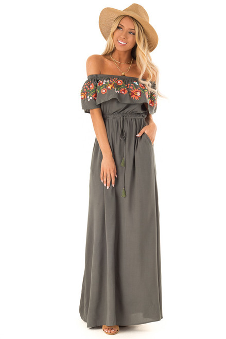 ac24abec28 Forest Green Maxi Dress with Embroidered Floral Overlay