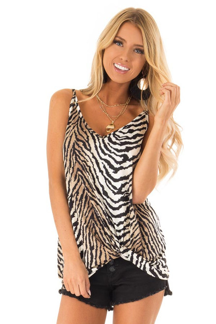 Taupe and Off White Zebra Print Tank Top with Front Twist 3ba16917b