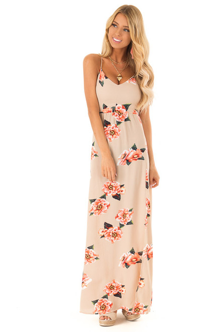 8f5e30b08fdb6 Taupe Floral Maxi Dress with Lace Up Back and Side Slit