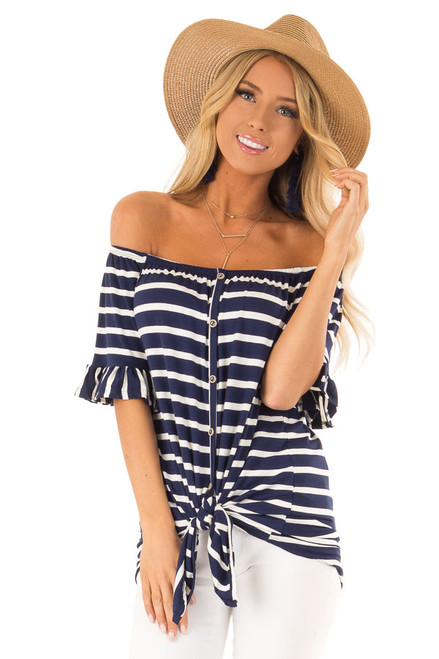 990428a2812570 Navy Striped Off Shoulder Button Up Top with Ruffle Sleeves