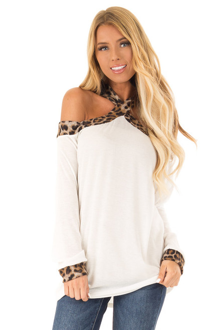 bbad5a6f4f4472 Ivory Off Shoulder Top with Leopard Print Contrast