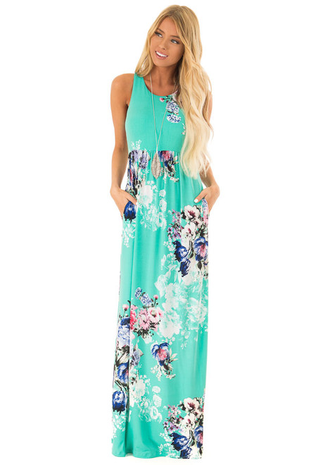 b0900c49e4b Spearmint Floral Racerback Maxi Dress with Side Pockets