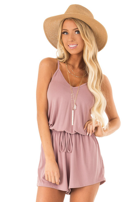 5b7df21e1c9 Mauve Spaghetti Strap Romper with Back Criss Cross Detail