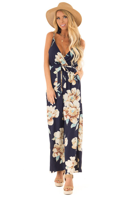91912f9bf90 Navy Floral Print Wide Leg Surplice Jumpsuit with Waist Tie