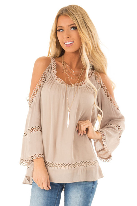 8c6bf012538748 Khaki 3 4 Length Cold Shoulder Top with Lace Details
