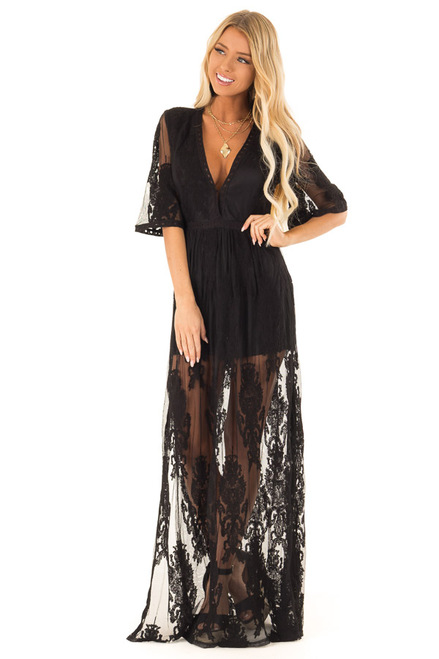 176c2117e415 Black Embroidered Mesh Maxi Dress with Deep V Neckline