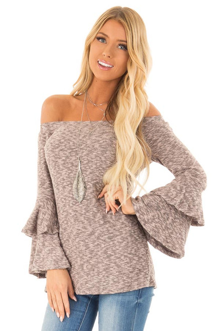 7b2284bdb206c Mauve Two Tone Ribbed Off Shoulder Top with Bell Sleeves