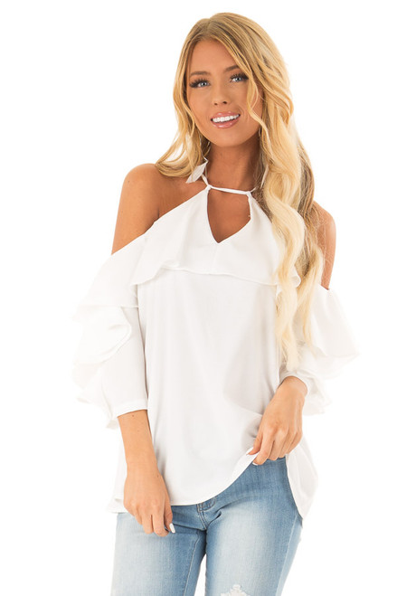 6776bf78f7c059 Daisy Cold Shoulder Ruffle Sleeve Top with Tie Back Detail