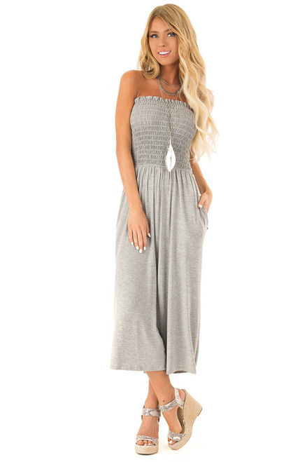 03ee6ce9c151 Stone Grey Strapless Smocked Jumpsuit with Wide Cropped Leg