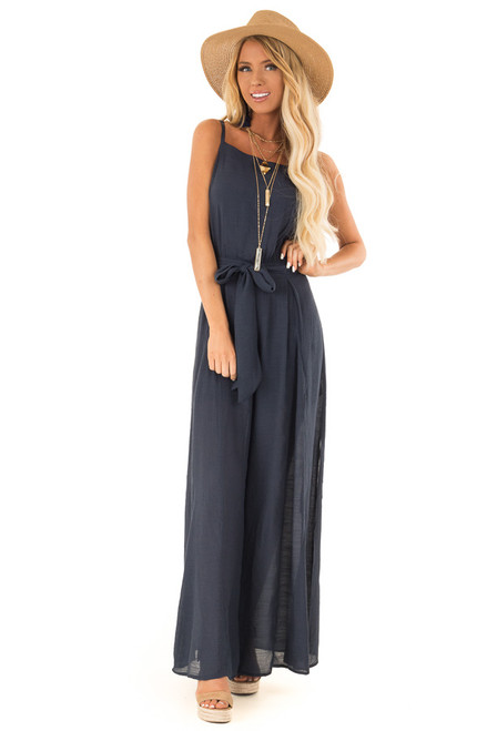 73b6e8ee9eb Midnight Blue Jumpsuit with Wide Leg Side Slit Detail
