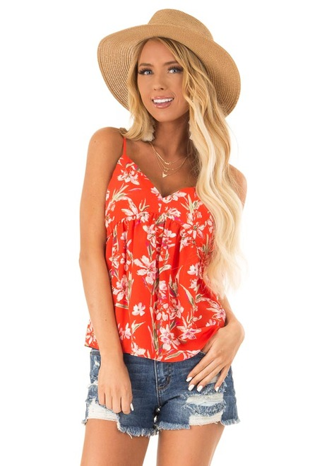 5629477451eded Tomato Red and Floral Print Babydoll V Neck Tank Top